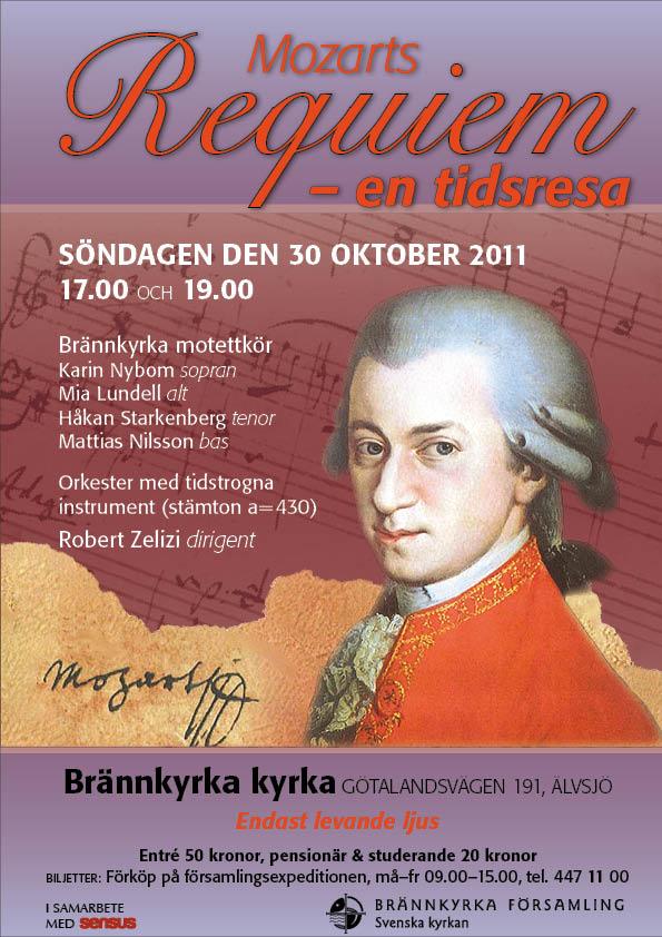 Mozarts Requiem i Brännkyrka kyrka, den 30 oktober kl. 17.00 och 19.00